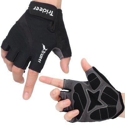 Trideer Cycling Biking Bike MTB Half Finger Gloves Black Green Small Gel Palm