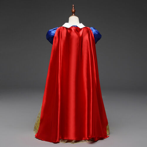 Kids Girls Snow White Princess Long Gown Fancy Party Dress Cosplay Costume UK