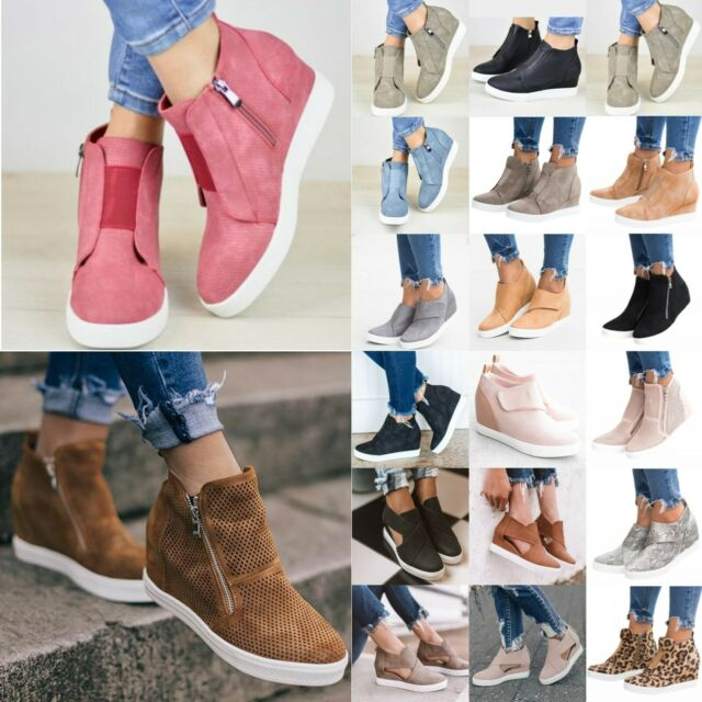 Women Hidden Wedge High Heel Sneakers Ankle Boots Trainers High Top Shoes Sizes