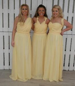 cd619af8ea0e Details about Chiffon Lemon Yellow Bridesmaid Dress Maxi Wedding Party  Ballgown Long Uk