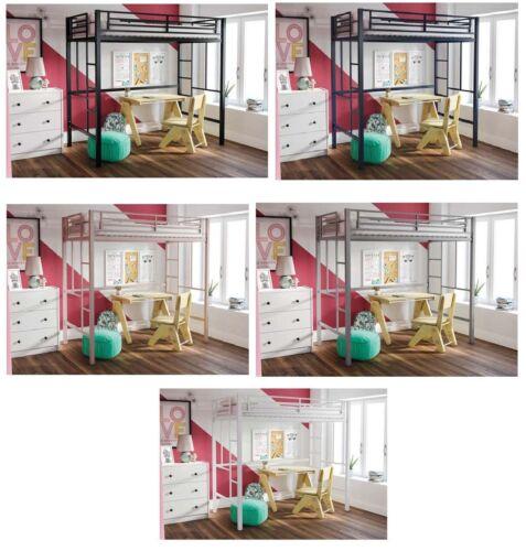 Twin Size Metal Loft Bed Teen Kids Boy Girl Dorm Bed Frame Color Choice
