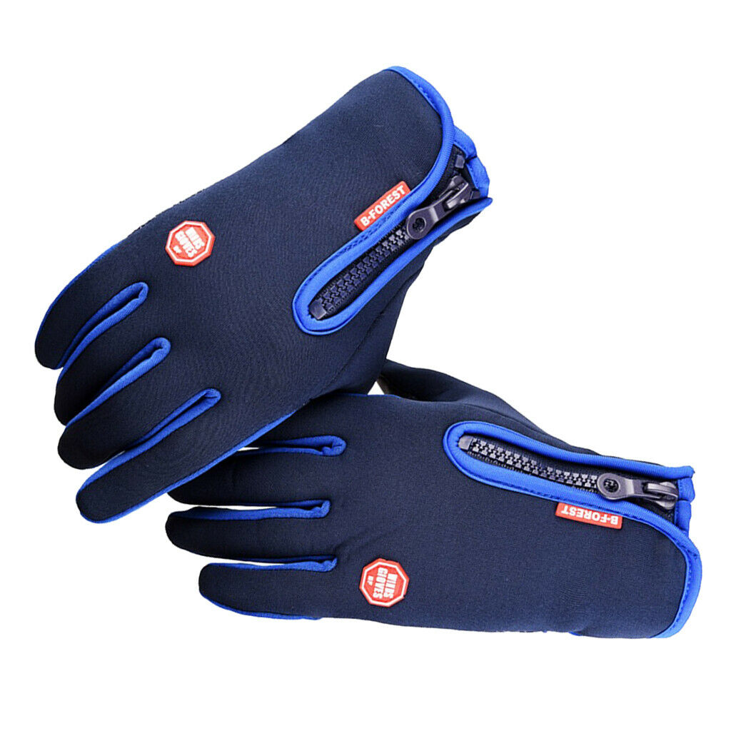 1 Pair Thermal Thickened Gloves Full Finger Cycling Glove Unisex Mitten Blue