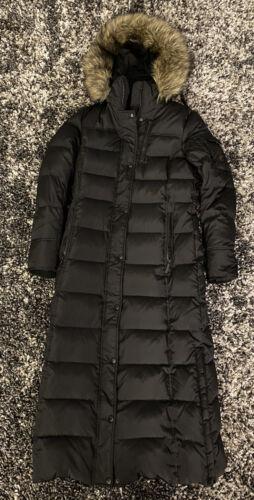 Michael Kors Long Full Length Black Faux Fur Trim