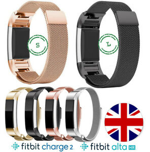 Metal-Fitbit-Charge-2-Alta-HR-Replacement-Milanese-Band-Strap-Secure-Wristband