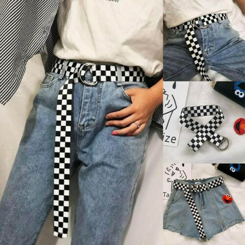 Unisex Festival Club Hip Hop Checkered Black White Long Belt Fashion Newest