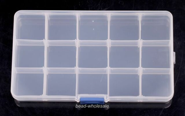 15 Cells Adjustable Slot Transparent Plastic Box Pill Case Jewelry Storage Box