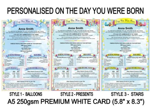 BIRTHDAY GIFT CERTIFICATE A5 CARD ON THE DAY YOU WERE BORN PERSONALSED