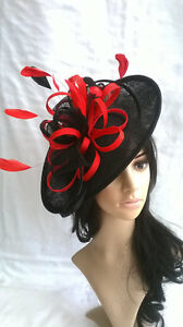 83bd371603e Image is loading BLACK-amp-RED-FEATHER-FASCINATOR-HAT-Shaped-saucer-