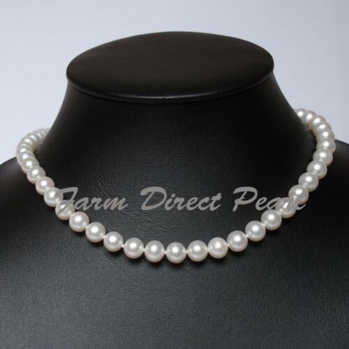 """7-7.5mm White Pearl Necklace Silver Genuine Cultured Freshwater 16/"""" Inch AAAA"""