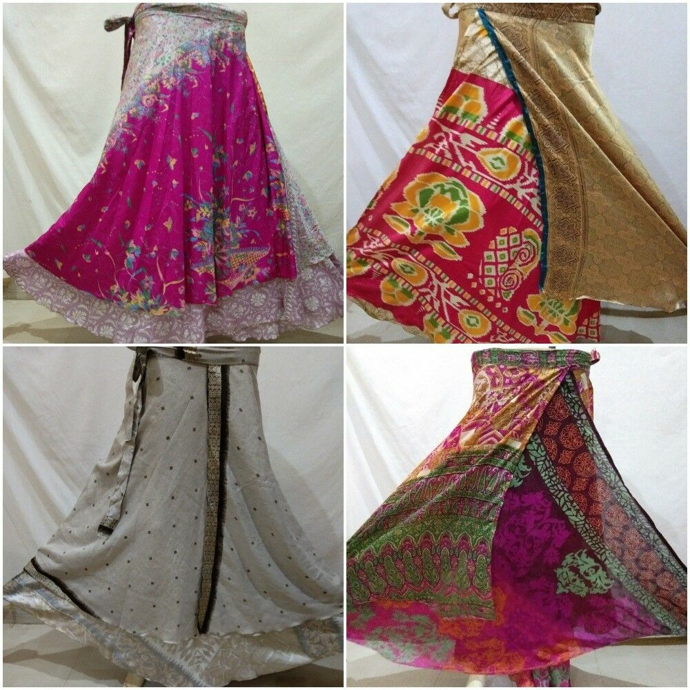 10Pcs Mix Skirt Lot Vintage Indian Silk Sari Magic Wrap Around Skirts Beach Wear