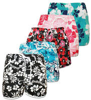 BNWT LADIES GIRL FLORAL FLOWER PRINT HOT PANTS SWIM BEACH BOARD SUMMER SHORTS UK