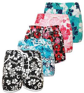 BNWT-LADIES-GIRL-FLORAL-FLOWER-PRINT-HOT-PANTS-SWIM-BEACH-BOARD-SUMMER-SHORTS-UK