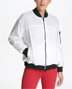 DKNY-Womens-Sport-Light-Bomber-Rain-Jacket-White-Size-Large