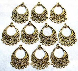 10-Pcs-Goldtone-Earring-Findings-Antique-Style-Chandelier-Boho-Dangle-Components