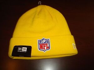 NFL LOGO SHIELD YELLOW NEW ERA RETRO WINTER TOBOGGAN BEANIE SKULL ... 04e0b54137a