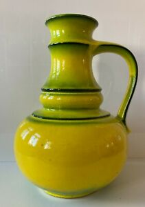 JASBA Vase Keramik XL Pop Art  Space Age WGP 60s 70s Form 1233  Rar! neon gelb