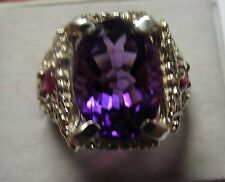 MENS 6.5CT  amethyst RUBY SET IN A STUNNING STERLING HANDSOME RING