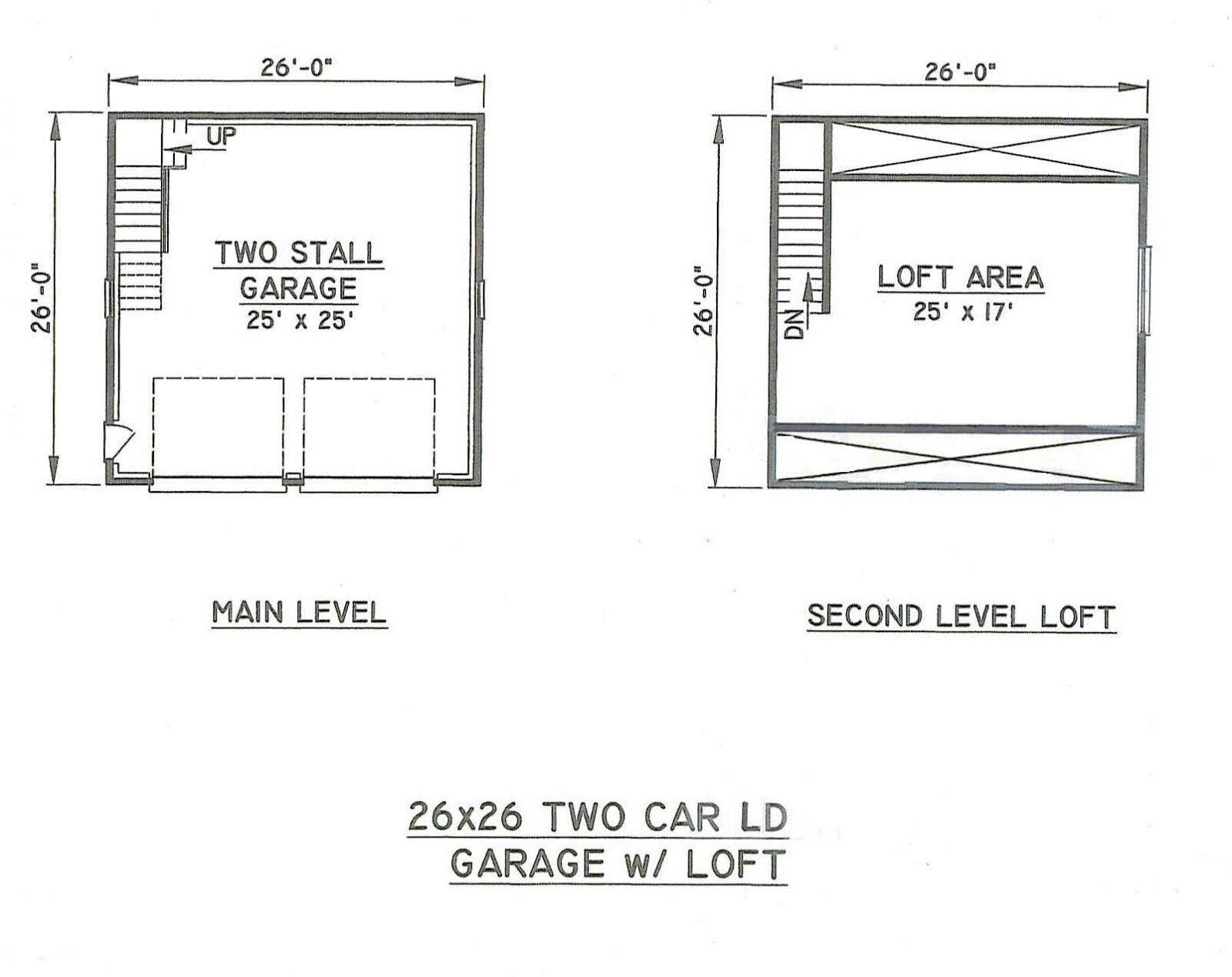 26x26 2-Car 2-Car 2-Car LD Garage Building Blauprint Plans w/WkpLft e20b0d