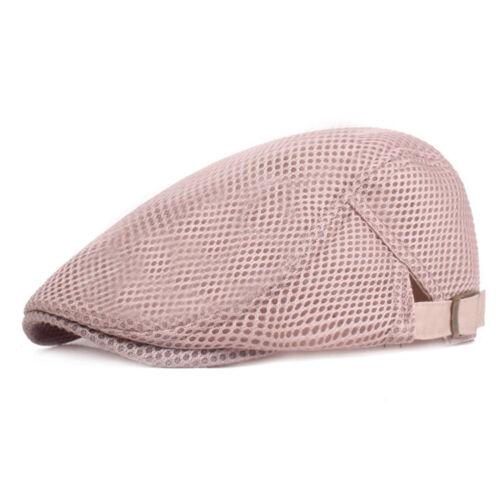 Unisex Beret Hat Flat Cap Mesh Cap Solid Casual Adjustable Metal Button Fashion