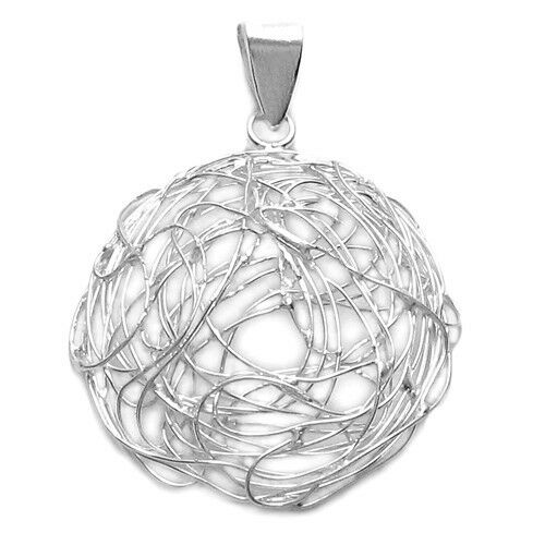 925 Sterling Silver Open Wire Nest Concave Circle Pendant