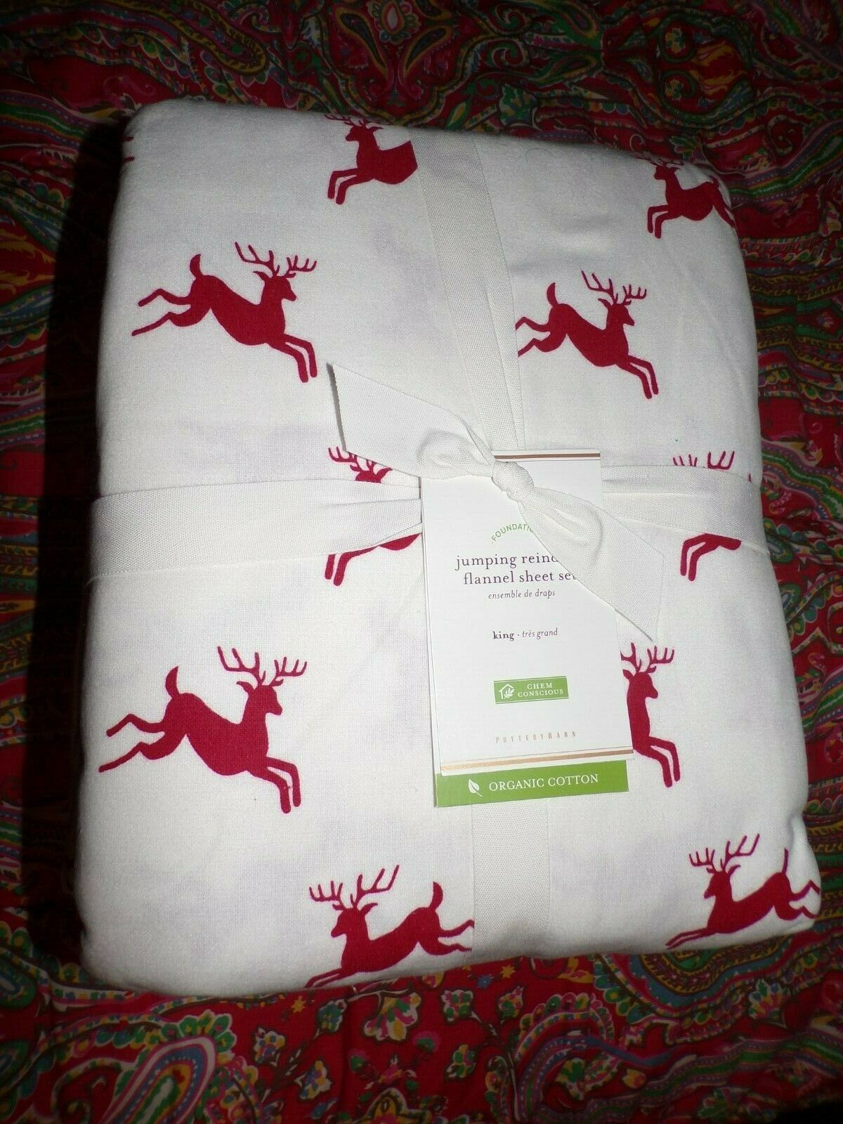 POTTERY BARN JUMPING REINDEER ORGANIC FLANNEL SHEET SET, NEW, KING