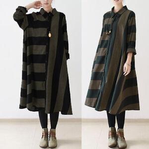 c768145f2b ZANZEA 8-24 Women Plus Size Button Up A-Line Kaftan Boho Midi Stripe ...