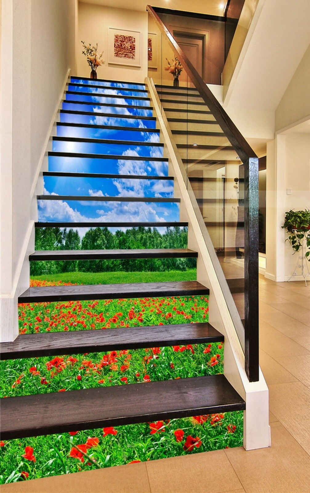 3D Flowers Field 2 Stair Risers Decoration Photo Mural Vinyl Decal Wallpaper UK