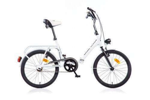 "White Dino Aurelia Folding 20/"" City Commuter Bicycle Single Speed"