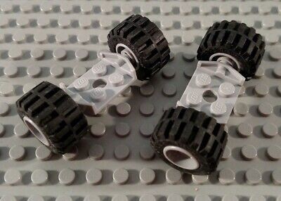 LEGO Lot of 2 Pair of Medium tires on Gray Axle Plates