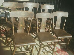 6-antique-decoratively-painted-original-Hitchcock-chairs-brown