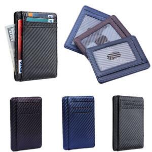 6875e86e2f76 Mens RFID Blocking Leather Slim Wallet Money Clip Credit Card Holder ...