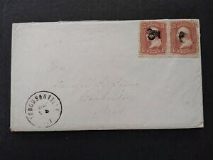 New York: Ferguson 1860s #65 Pair Cover, DPO Delaware Co