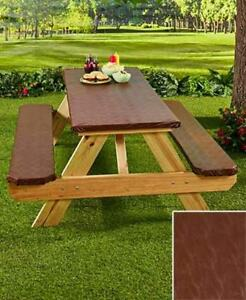 Picnic Table Covers 3 Pc Set Elastic Fitted Plastic Outdoor Table