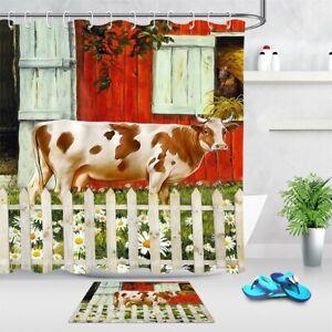 cow cat daisy flowers farmhouse barn fabric shower curtain
