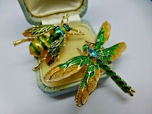 Insect-dragonfly-bee-brooch-lot-2-vintage-style-green-enamel-rhinestone-pins