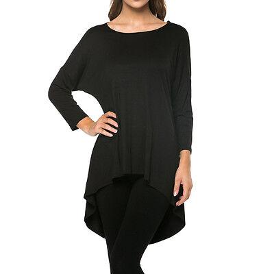 Fashion Women's Loose 3/4 Sleeve High-Low Long Tunic Top Blouse T-Shirt USA Plus