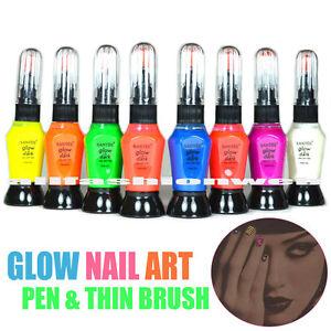 Image Is Loading 8 Pcs Santee Glow In Dark Nail Art