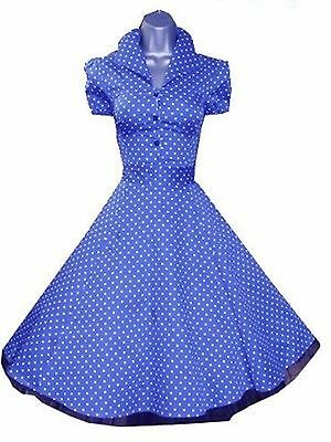 H & R BLUE white Polka Classy Modern Day 1950's Style Swing Dress button up 6839