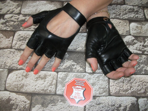 WOMENS RED AND BLACK LEATHER FINGERLESS GLOVES SIZE 7 8.5 7.5 8