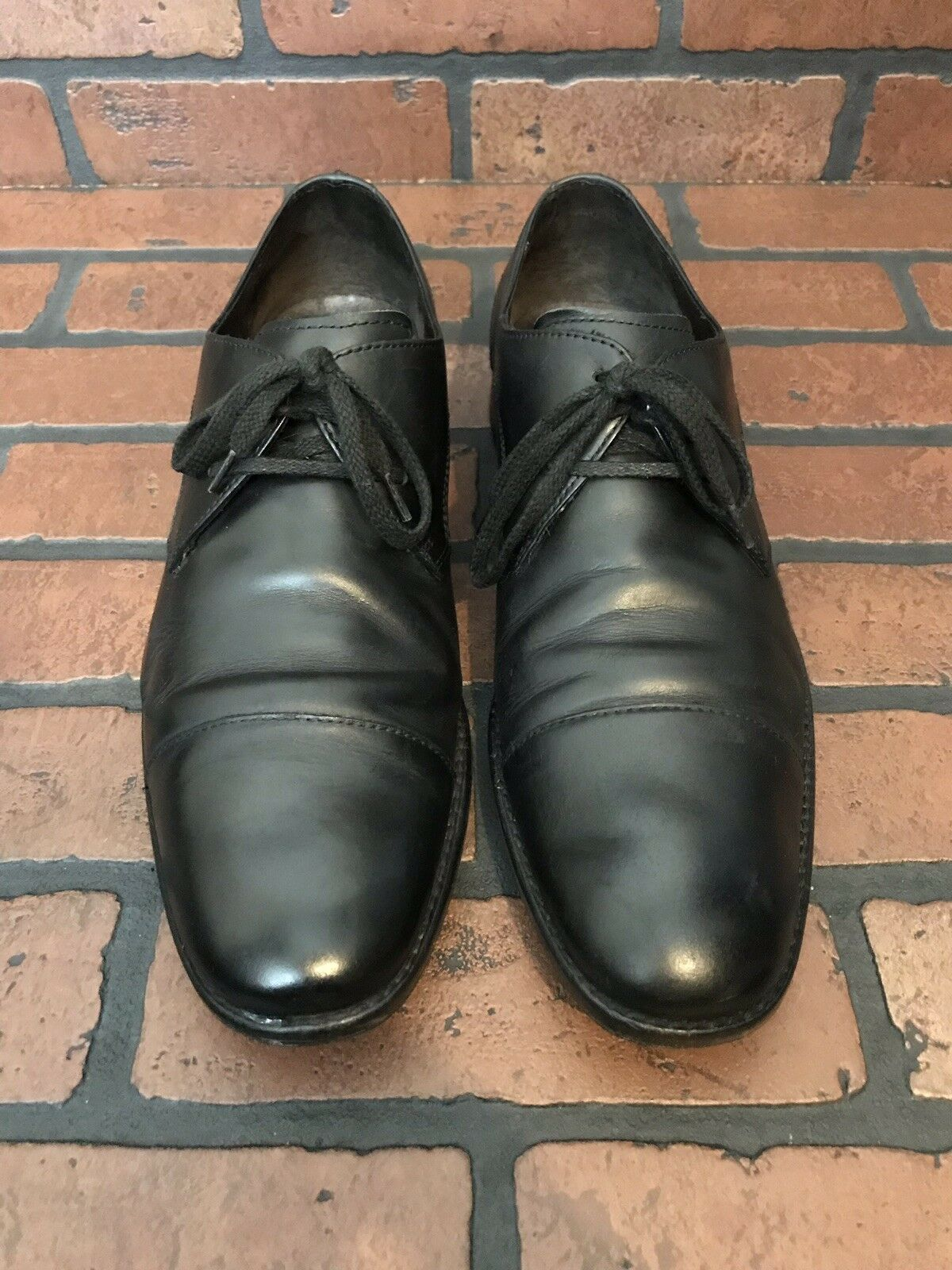 John Varvatos Derby Cap Toe shoes Black Leather Size 10