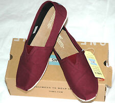TOMS Men's Classic Red Mahogany Dark Red Canvas Size 14