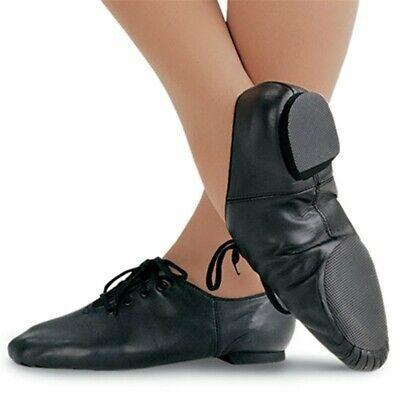 JAZZ DANCE SHOES 100/% LEATHER  SPLIT SOLE RUBBER HEEL HANDMADE MODERN STAGE JAZZ