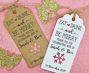Winter Wedding Favour Gift Tags Thank You Personalised Snowflake