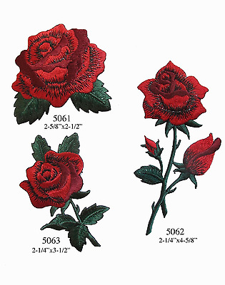 Lot 3Pcs Red Rose Flower Embroidery Iron On Applique Patch