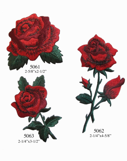 3 Pack Delicate Embroidered Patches Rose red Butterfly Embroidery Iron On Patch