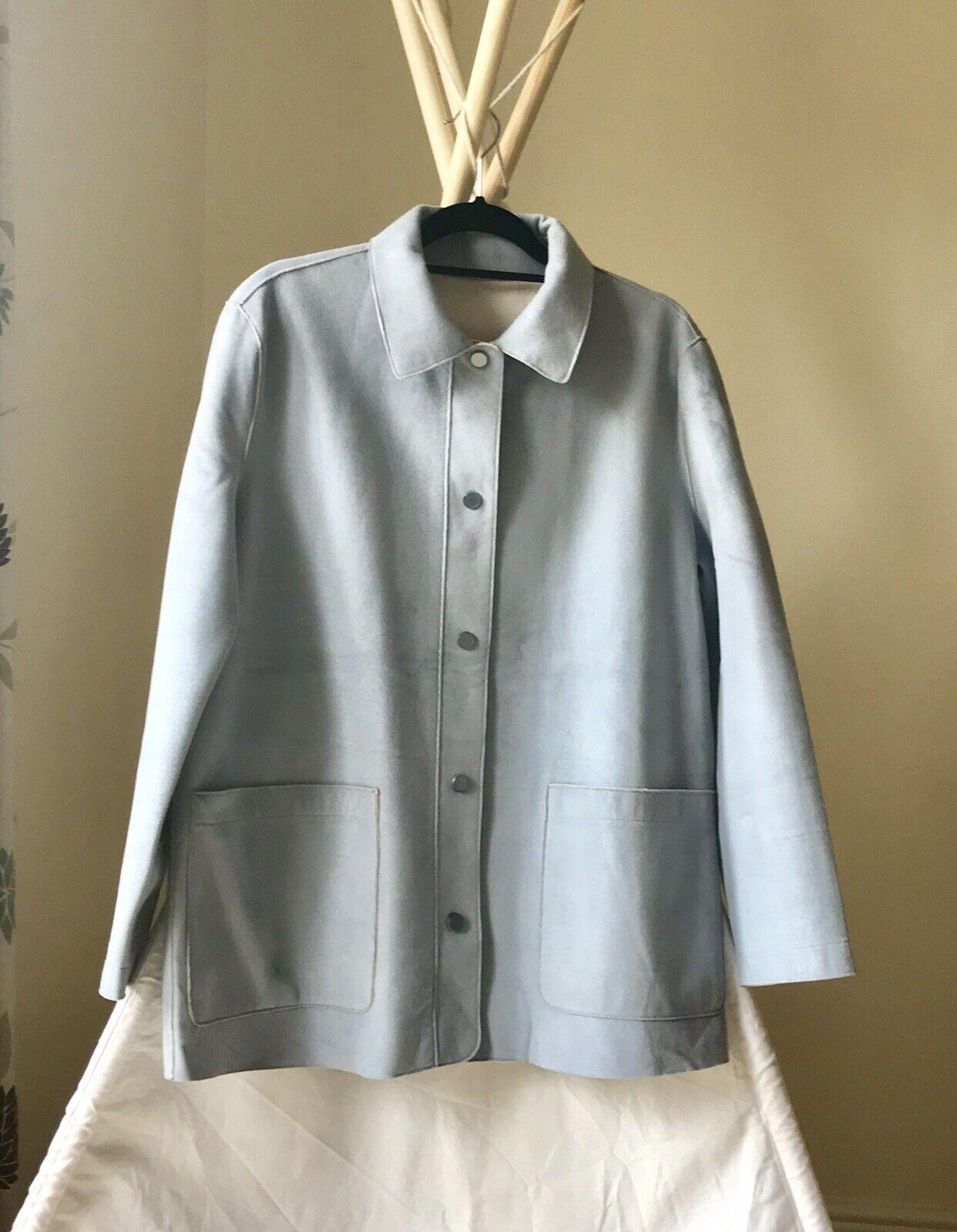 Betty Barclay Faux Suede Dove Blue Jacket Coat Size 12 Excellent Condition