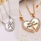 Best Friend Heart Rhinestone 2 Pendants Chain Necklace Best Bff Friendship Newly