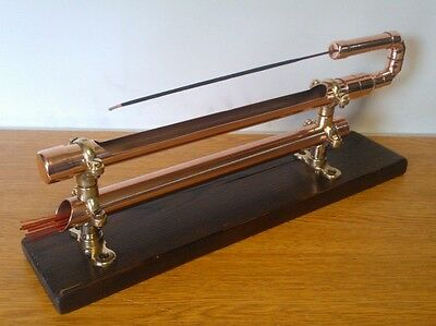 Handmade, Copper, Brass, Wood Incense Stick Holder / Burner Ash Catcher.