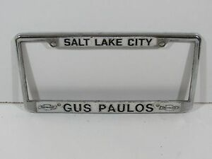 Gus Paulos Chevrolet >> Salt Lake City Gus Paulos Chevrolet Dealership License Plate Frame Metal Rare | eBay