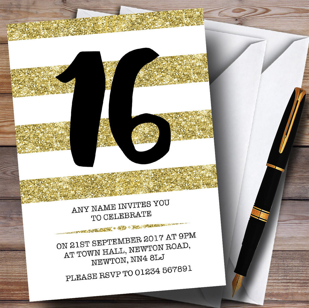 Glitter Gold & & & Weiß Striped 16th Personalised Birthday Party Invitations 40cd32